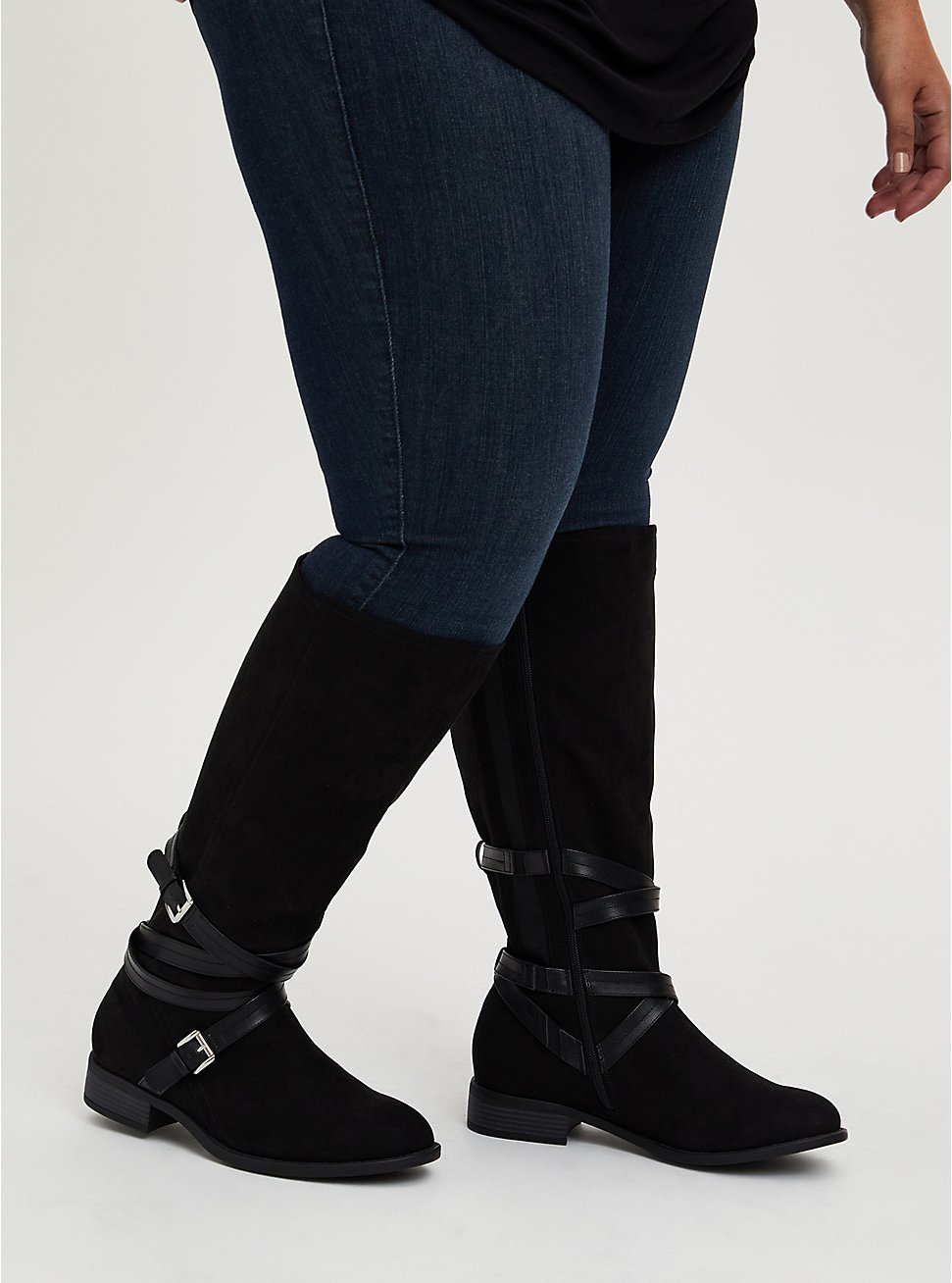 Black Faux Suede Strappy Knee-High Boot (WW), BLACK, hi-res