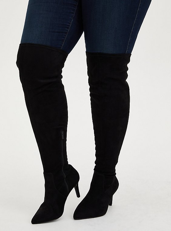 Plus Size Black Faux Suede Over-The-Knee Heel Boot (WW), , hi-res
