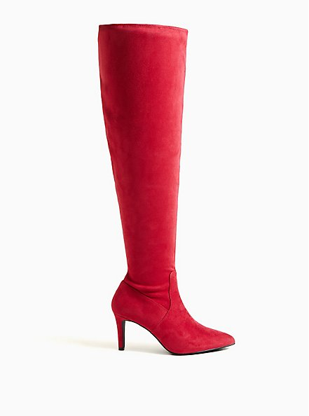 Red Stretch Faux Suede Pointed Toe Over-The-Knee Boot (WW), RED, alternate