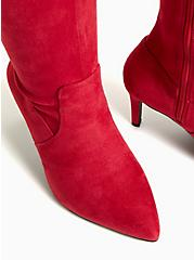 Plus Size Red Stretch Faux Suede Pointed Toe Over-The-Knee Boot (WW), RED, alternate