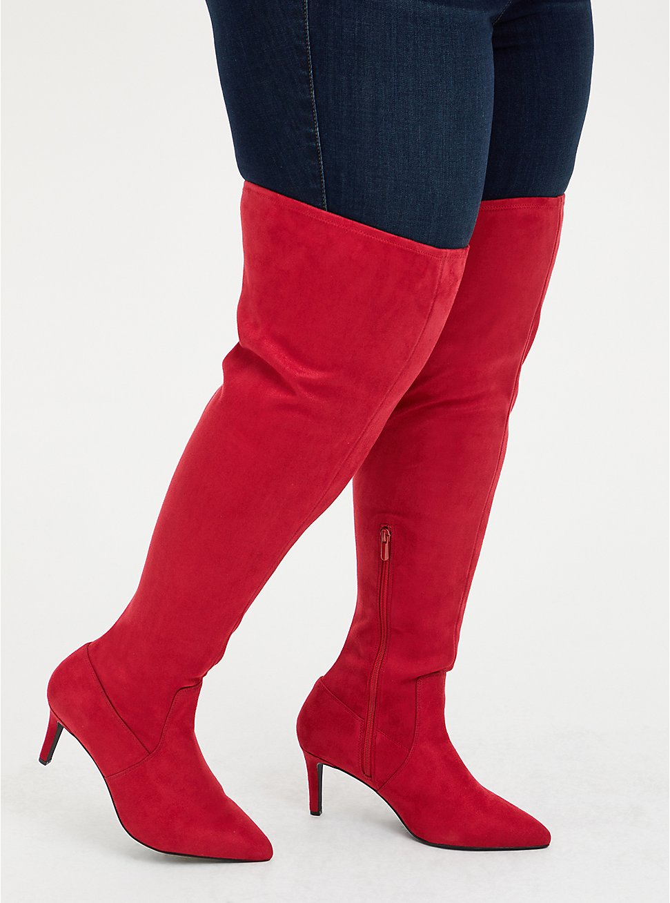 Red Stretch Faux Suede Pointed Toe Over-The-Knee Boot (WW), RED, hi-res