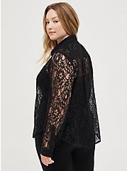 Madison - Black Sheer Lace Button Front Blouse, DEEP BLACK, alternate