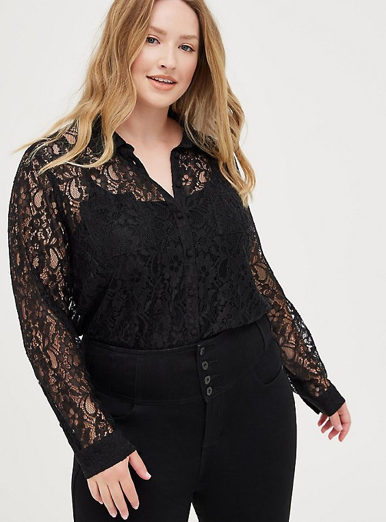 Madison - Black Sheer Lace Button Front Blouse, , hi-res