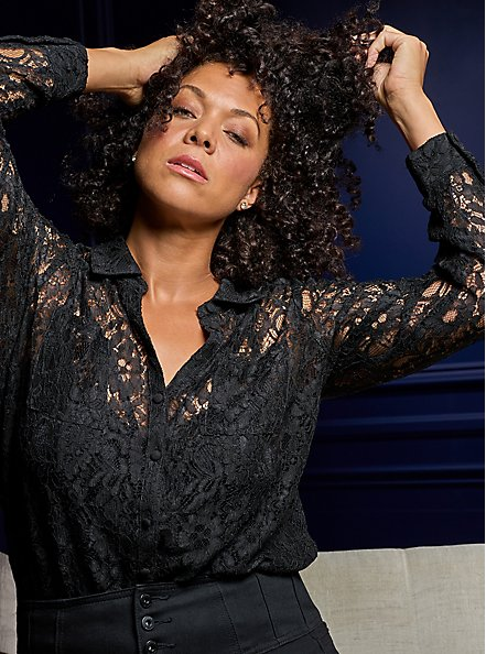 Madison - Black Sheer lace Button Front Blouse, DEEP BLACK, hi-res