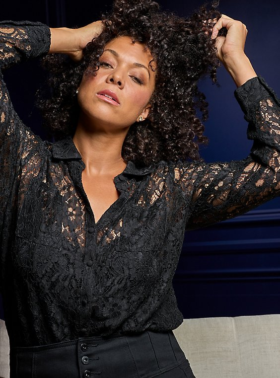 Madison - Black Sheer lace Button Front Blouse, DEEP BLACK, ls