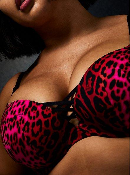 Betsey Johnson Hot Pink Leopard Satin 360° Back Smoothing™ XO Push-Up Plunge Bra, ROMANTIC LEOPARD, alternate