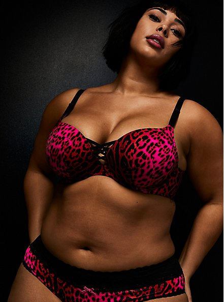 Betsey Johnson Hot Pink Leopard Satin 360° Back Smoothing™ XO Push-Up Plunge Bra, ROMANTIC LEOPARD, hi-res