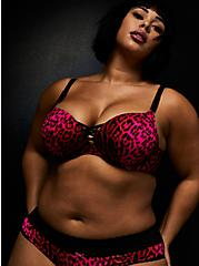 Betsey Johnson Hot Pink Leopard Satin 360° Back Smoothing™ XO Push-Up Plunge Bra, ROMANTIC LEOPARD, hi-res