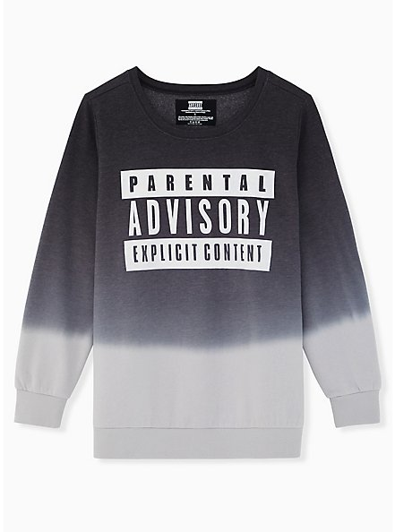 Parental Advisory Black Dip-Dye Sweatshirt, DEEP BLACK, hi-res