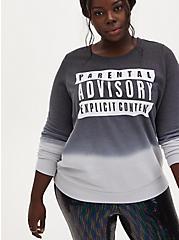 Parental Advisory Black Dip-Dye Sweatshirt, DEEP BLACK, hi-res