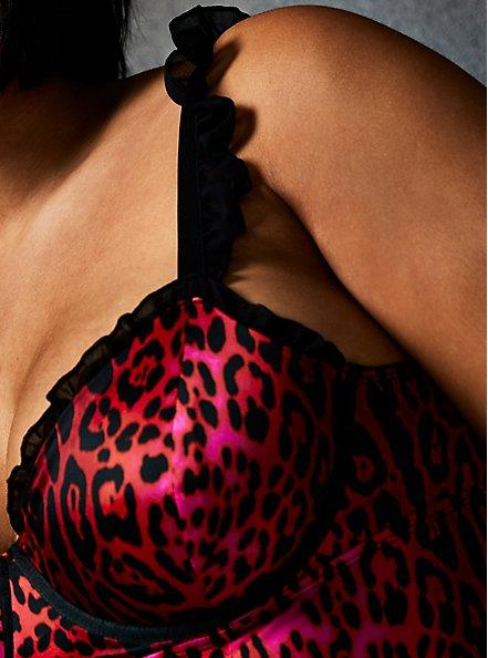 Betsey Johnson Hot Pink Leopard Satin Ruffle Underwire Thong Bodysuit, ROMANTIC LEOPARD, alternate