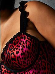 Betsey Johnson Hot Pink Leopard Satin Ruffle Underwire Thong Bodysuit, ROMANTIC LEOPARD, alternate