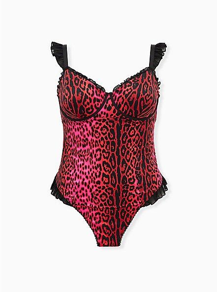 Betsey Johnson Hot Pink Leopard Satin Ruffle Underwire Thong Bodysuit, ROMANTIC LEOPARD, hi-res