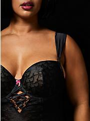 Betsey Johnson Black Bow Lace Bustier , RICH BLACK, alternate
