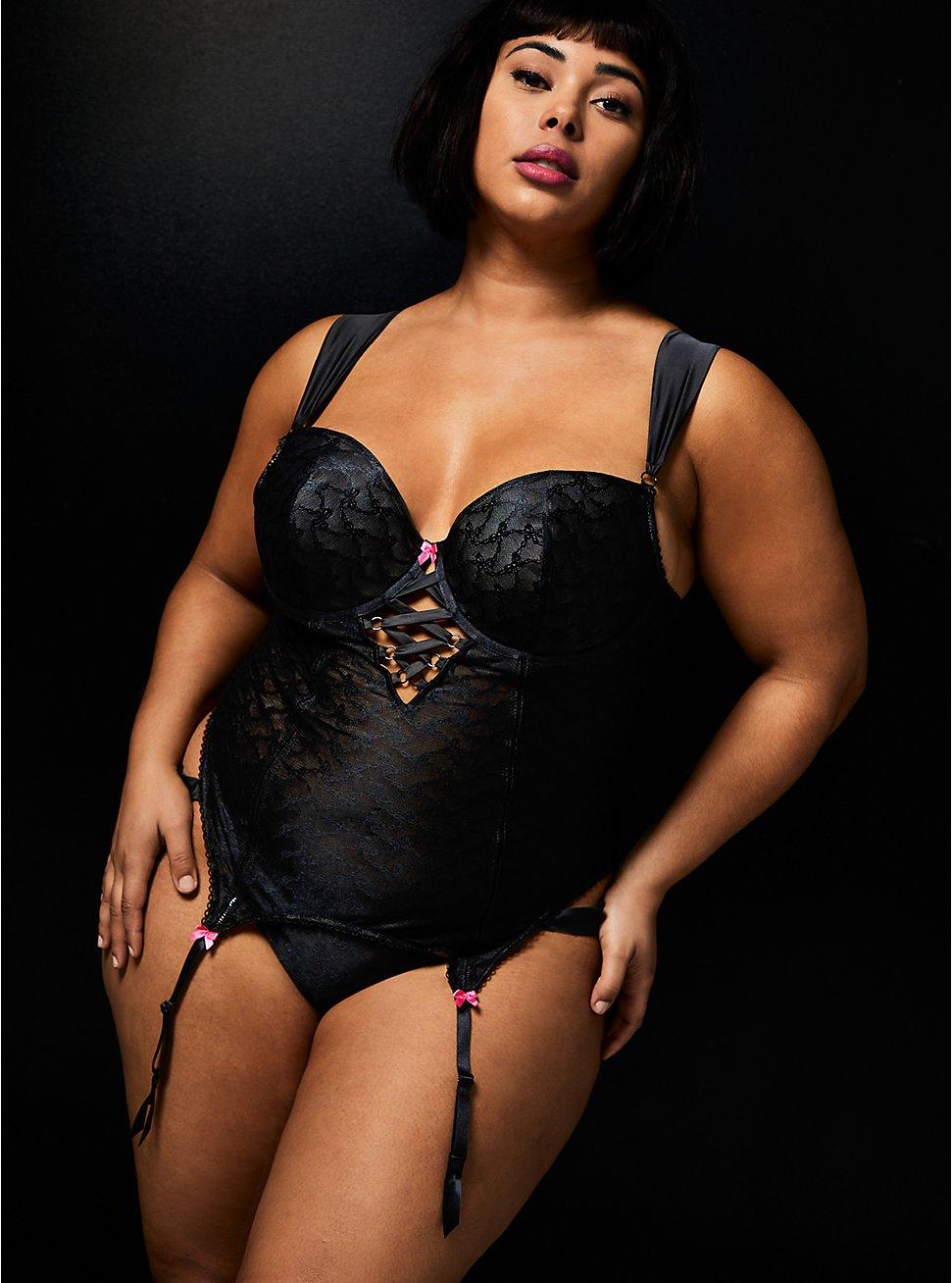 Betsey Johnson Black Bow Lace Bustier , RICH BLACK, hi-res