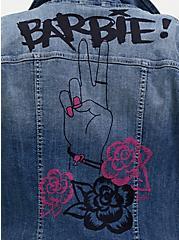Barbie Peace Sign Denim Trucker Jacket - Medium Wash , MEDIUM WASH, alternate