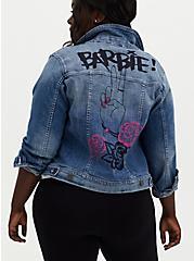 Barbie Peace Sign Denim Trucker Jacket - Medium Wash , MEDIUM WASH, hi-res