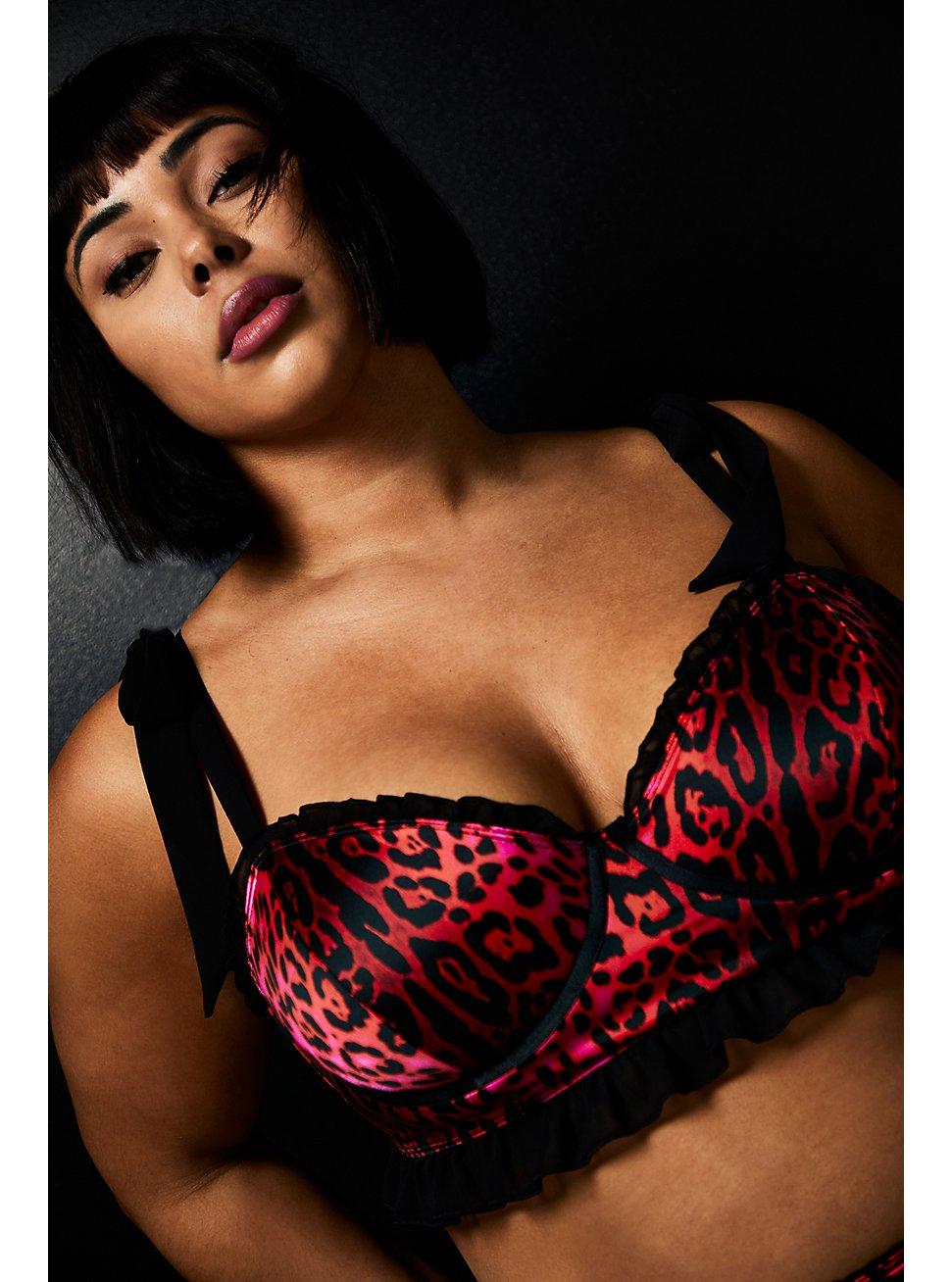 Betsey Johnson Hot Pink Leopard Satin Underwire Bralette, ROMANTIC LEOPARD, hi-res