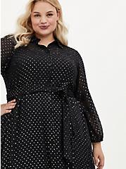 Black Shimmer Clip Dot Shirt Dress, BLACK  SILVER, alternate