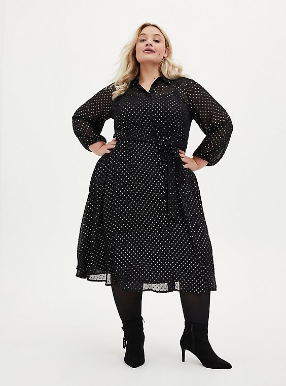 Black Shimmer Clip Dot Shirt Dress, BLACK  SILVER, hi-res