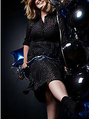 Black Shimmer Clip Dot Shirt Dress, BLACK  SILVER, hi-res
