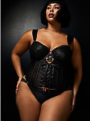 Betsey Johnson Black Bow Lace Lace-Up Waist Cincher , RICH BLACK, alternate
