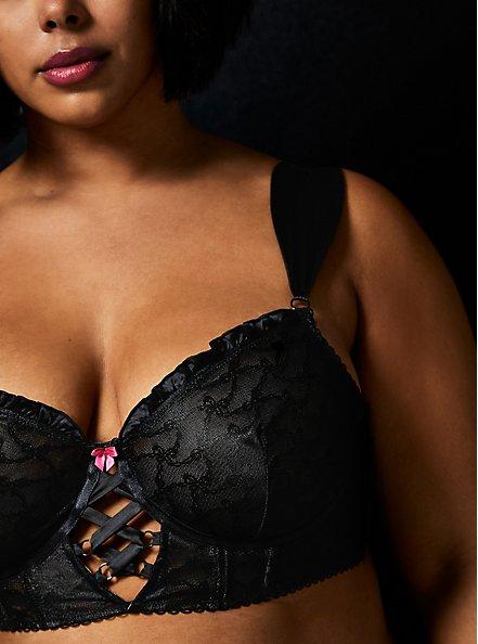 Betsey Johnson Black Flocked Mesh Bows Lace-Up Underwire Bralette , RICH BLACK, alternate