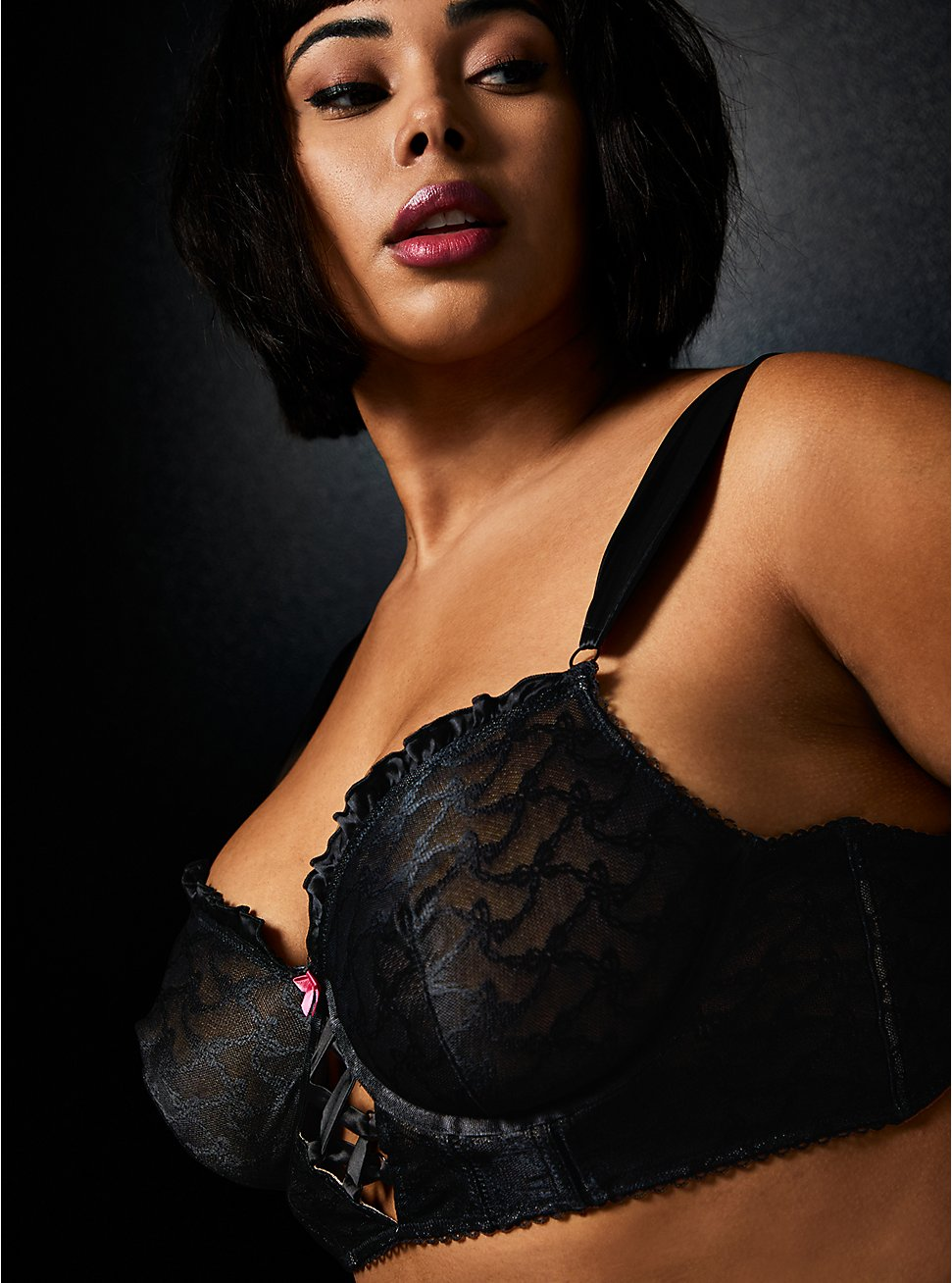 Betsey Johnson Black Flocked Mesh Bows Lace-Up Underwire Bralette , RICH BLACK, hi-res