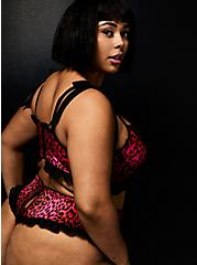 Betsey Johnson Hot Pink Leopard Satin Ruffle Back Slit High Waist Panty , LEOPARD ROSE BUD, alternate