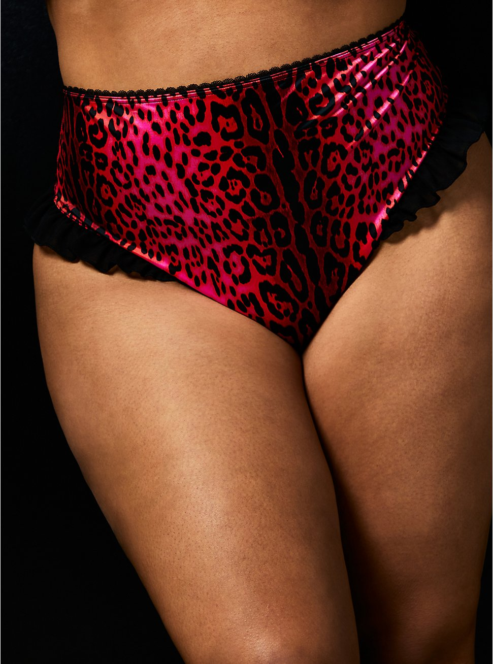 Betsey Johnson Hot Pink Leopard Satin Ruffle Back Slit High Waist Panty , LEOPARD ROSE BUD, hi-res