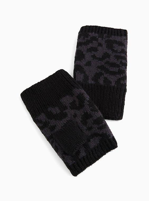 Snow Leopard Fingerless Gloves, , hi-res