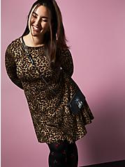 Betsey Johnson Leopard Ponte Skater Dress With Back Cutout, LEOPARD, alternate