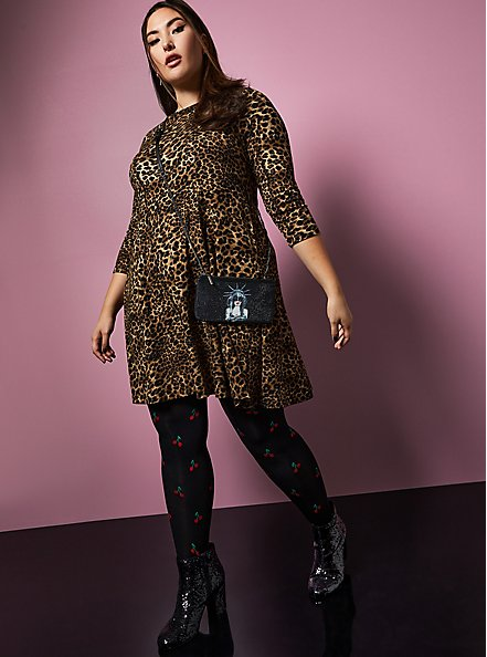Betsey Johnson Leopard Ponte Skater Dress With Back Cutout, LEOPARD, hi-res