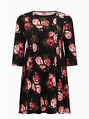 Betsey Johnson Floral Ponte Skater Dress With Back Cutout, FLORAL - BLACK, hi-res