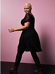 Betsey Johnson Black Lace Puff Sleeve Sweetheart Skater Dress, DEEP BLACK, alternate
