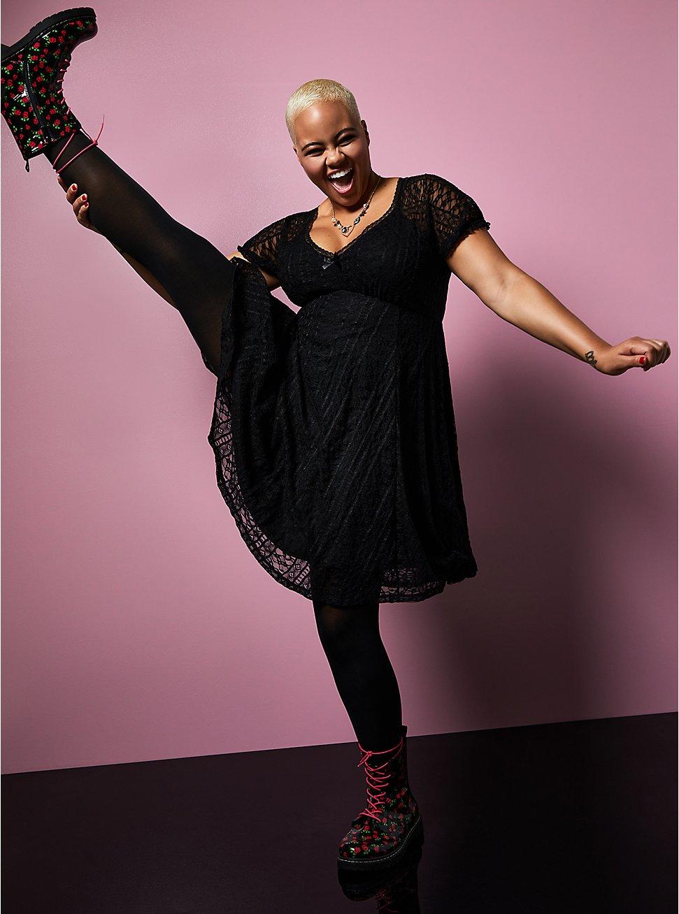 Betsey Johnson Black Lace Puff Sleeve Sweetheart Skater Dress, DEEP BLACK, hi-res