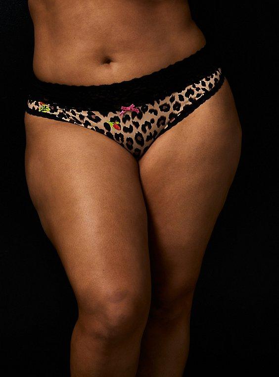 Betsey Johnson Leopard Floral Second Skin Thong Panty , LEOPARD ROSE BUD, hi-res