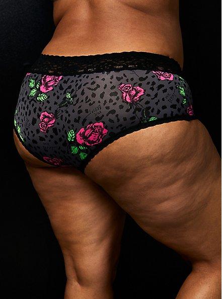 Betsey Johnson Black Leopard Floral Second Skin Cheeky Panty , LEOPARD STEM FLORAL-CHARCOAL, alternate