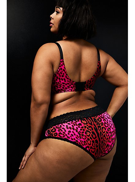 Betsey Johnson Red Leopard Second Skin Hipster Panty, PINK RED LEOPARD-PINK, alternate