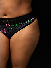 Betsey Johnson Grey Leopard Floral Second Skin Thong Panty , LEOPARD STEM FLORAL-CHARCOAL, hi-res