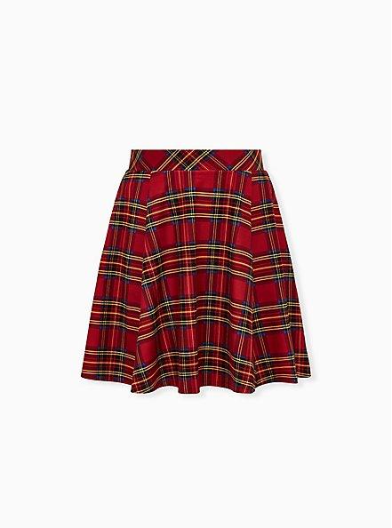 Betsey Johnson Red Plaid Ponte Skater Skirt, PLAID - RED, hi-res