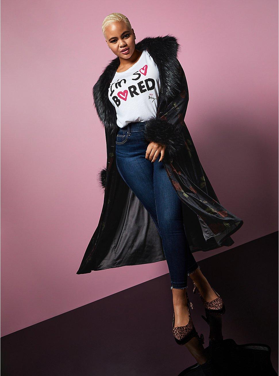 Betsey Johnson Black Velvet Floral Faux Fur Trim Longline Coat, FLORAL - BLACK, hi-res