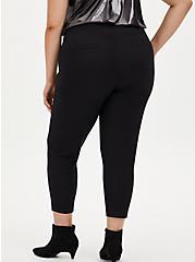 Black Crepe Flat Front Tapered Pant, DEEP BLACK, alternate