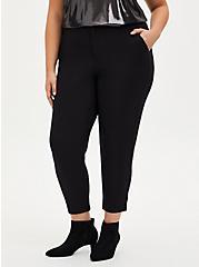 Black Crepe Flat Front Tapered Pant, DEEP BLACK, hi-res