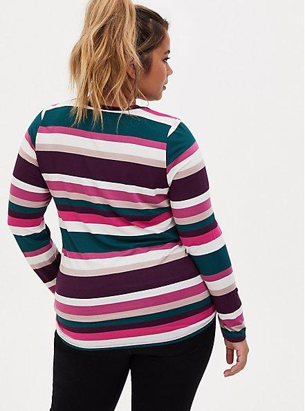 Super Soft Multicolor Stripe Long Sleeve Scoop Neck Tee, , alternate