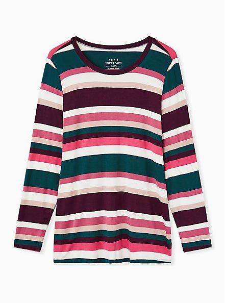 Super Soft Multicolor Stripe Long Sleeve Scoop Neck Tee, , hi-res