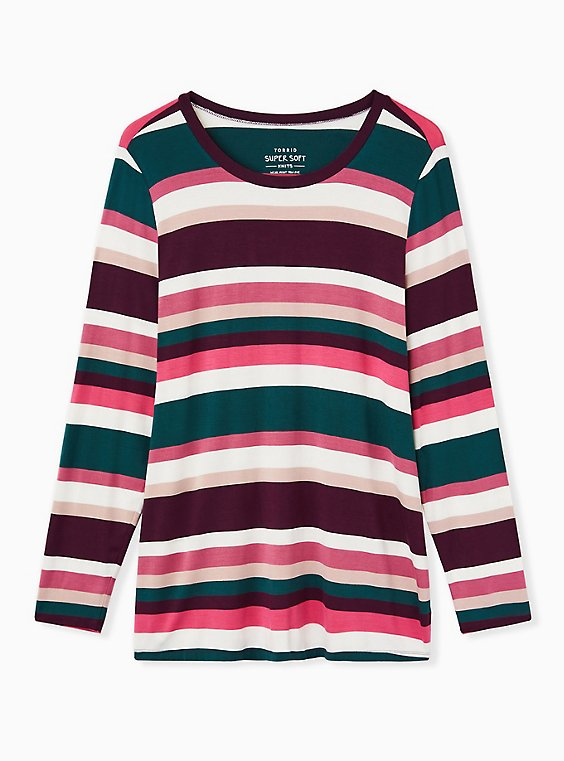 Super Soft Multicolor Stripe Long Sleeve Scoop Neck Tee, , ls