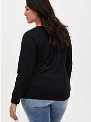 Black Lace Up Raglan Fleece Sweatshirt, DEEP BLACK, alternate