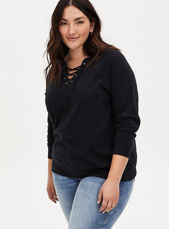 Black Lace Up Raglan Fleece Sweatshirt, , hi-res