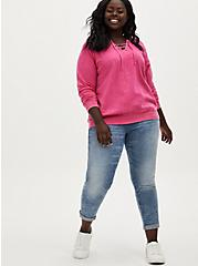 Neon Pink Terry Lace-Up Tunic Sweatshirt, SUPERSONIC, alternate